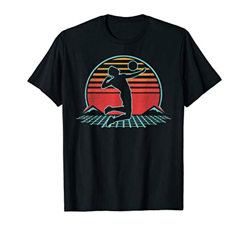 Volleyball Retro Vintage 80s Style Beach Player Gift T-Shirt (Best Female Beach Volleyball Players)