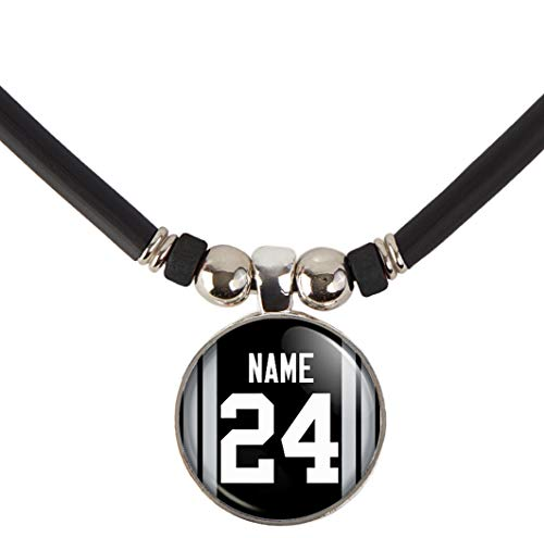 SpotlightJewels Personalized Football Jersey Necklace. Football Charm/Pendant Customized with Name and Number. Unisex Football Jewelry. (Available in 32 Styles) (Oakland) (Oakland Pendant)