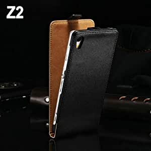 DHL Luxury Flip Style Genuine Leather Case For Sony Xperia Z2 D6502 L50W L50 Phone Bag Cover 50 pcs/lot --- Color:White