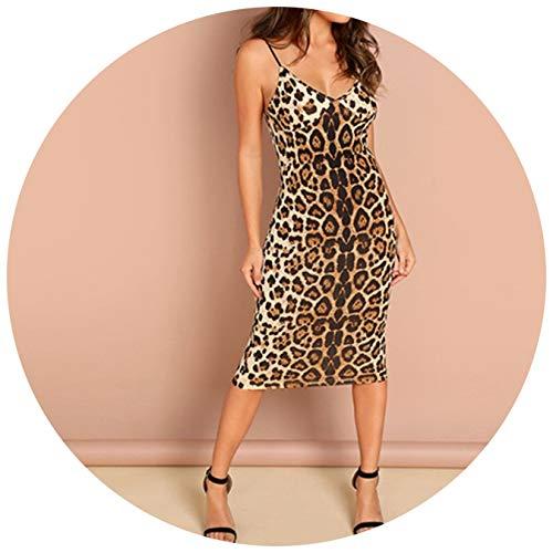 Sexy Backless Leopard Print Cami Sleeveless Pencil Skinny Club Dress Night Out Women Dresses,Multi,XS ()