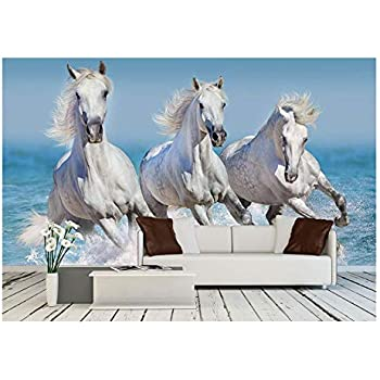 Wall26   Horse Herd Run Gallop In Waves In The Ocean   Removable Wall Mural  |