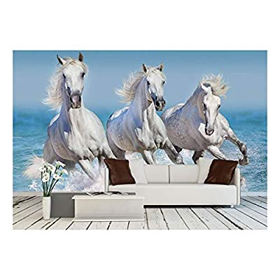 Made With Top Quality, Amazing Print, Horse Herd Run Gallop in Waves in The Ocean