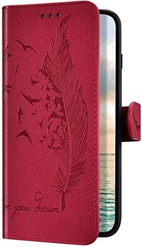 Uposao Kompatibel mit Samsung Galaxy A70 Hülle Handyhülle Feder Vogel Muster Klapphülle Flip Case Schutzhülle Ultradünn Lederhülle Brieftasche Wallet Ledertasche Kartenfächer Magnet,Rot