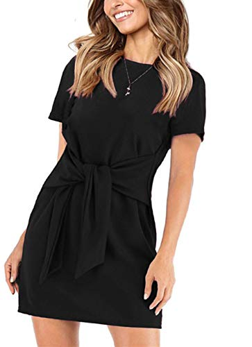 (onlypuff Summer Dresses for Women Black Casual Short Sleeve Tie Front Long Tunic Tops Belted XXL )
