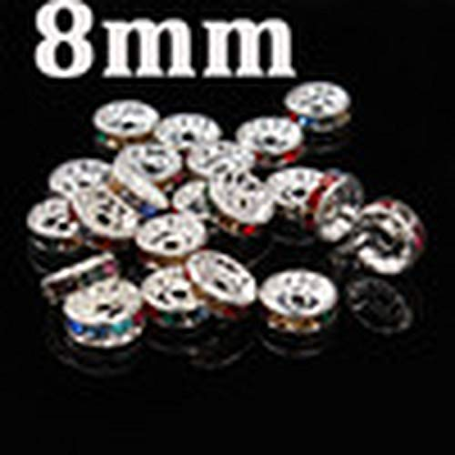 (50 Pcs Gold Silver Color Spacer Beads Metal Rhinestone Crystal Beads for DIY Jewelry Making,Colourfulsilver 8mm)