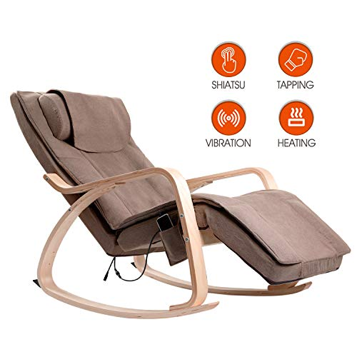 OWAYS Massage Chair 3D Full Back Massager, Rocking Design, Adjustable Pillow, Vibrating and Heating, 6 Massage Modes, Wooden Handrail, Linen Cover with Zipper