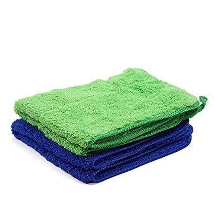 eDealMax 2pcs Azul Verde Mircrofiber de coches Pulido de limpieza de Lavado de toallas 40cm x