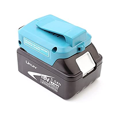 URUN 18V 5.0Ah 90Wh BL1850 Battery Replacement with USB Convertor Adaptor for BL1850 BL1840 BL1830 LXT-400 194204-5 Battery BJV180 BJV180Z BPB180 Cordless Tools