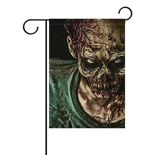 Top Carpenter Scary Zombie for Halloween Double-Sided Printed Garden House Sports Flag – 28x40in – 100% Premium Polyester Decorative Flags for Courtyard Garden Flowerpot Review