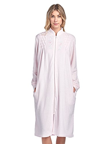 (Casual Nights Women's Zipper Front Jacquard Terry Fleece Robe Duster - Pink - X-Large)