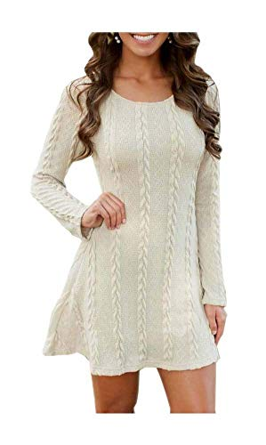 sticity Sleeve Round Neck Cable Knit Pullover Sweater Dress (Large, 2 White) ()