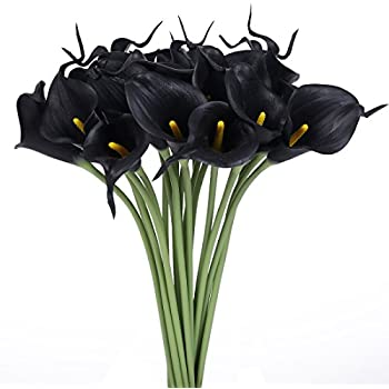 Luyue Calla Lily Bridal Wedding Bouquet Head Lataex Real Touch Flower Bouquets Pack of 20 (Black)