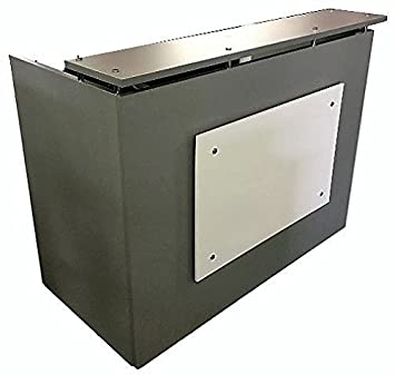 DFS Reception desk shell which fits a 15 monitor – 60 W by 30 D by 44 H Silver and White front