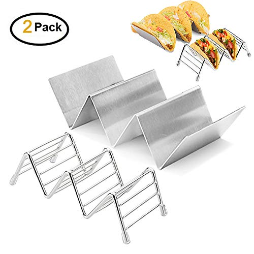 Taco Holder Set of 2 Types-Stainless Steel Taco Stand,Hold 2 or 3 Hard or Soft Shell Tacos Each,Oven, Grill, Dishwasher Safe,Easy To Fill Taco Rack And Perfect To Keep Your Delicious Tacos(Set of 2)
