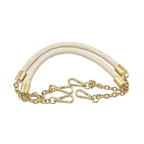 - 60cm Chain + PU Leather Weave belt handles for replacement Women bag handles For DIY (Beige)