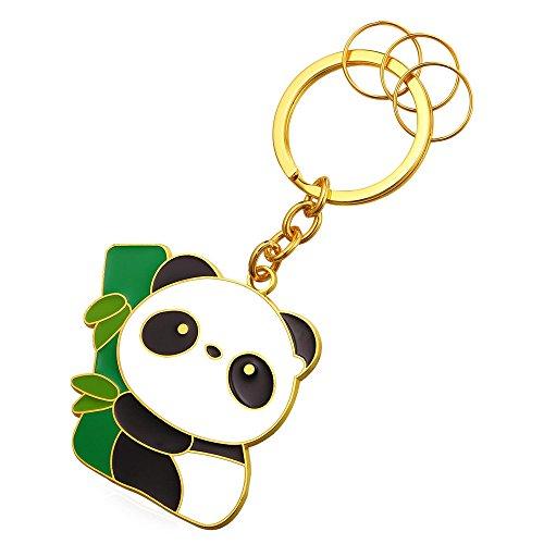 18k Gold Key - Panda Keytag Metal Alloy 18K Gold Key Ring Keyrings For Men