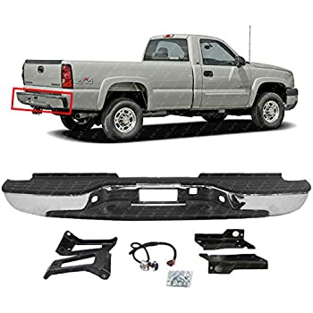 mbi auto - chrome steel, rear bumper assembly for 1999-2006 chevy silverado  & gmc sierra 2500 3500 hd & 2007 classic pickup, gm1103129
