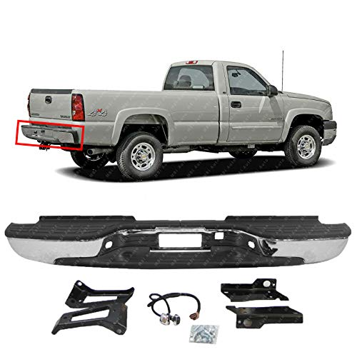 (MBI AUTO - Chrome Steel, Rear Bumper Assembly for 1999-2006 Chevy Silverado & GMC Sierra 2500 3500 HD & 2007 Classic Pickup, GM1103129)