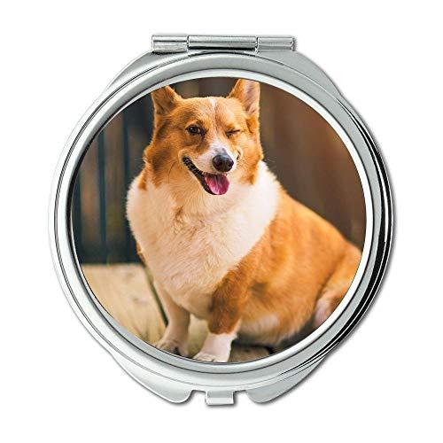 Mirror,makeup mirror,Colorful Dogs corgi,pocket mirror,1 X 2X -
