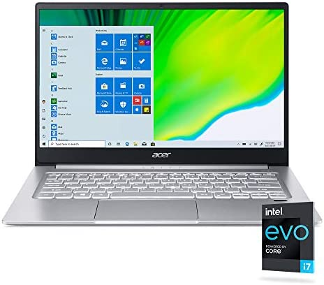 "Acer Swift 3 Intel Evo Thin & Light Laptop, 14"" Full HD, Intel Core i7-1165G7, Intel Iris Xe Graphics, 8GB LPDDR4X, 256GB NVMe SSD, Wi-Fi 6, Fingerprint Reader, Back-lit KB, SF314-59-75QC"