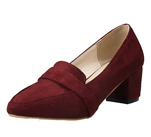 Dépolissement Talon à Vineux Femme Tire Correct Rouge Chaussures Pointu AllhqFashion Légeres tXqPxCwX