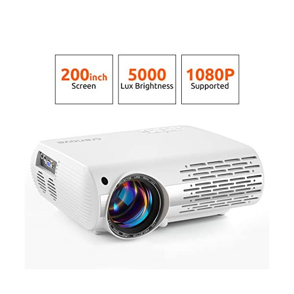 "Crenova Video Projector, 5000 Lux Home Movie Projector(550 ANSI), 200"" Display HD LED Projector 1080P Supported, Work with Phone, PC, Mac, TV Stick, PS4, HDMI, USB for Home Theater[2019 Upgraded]"