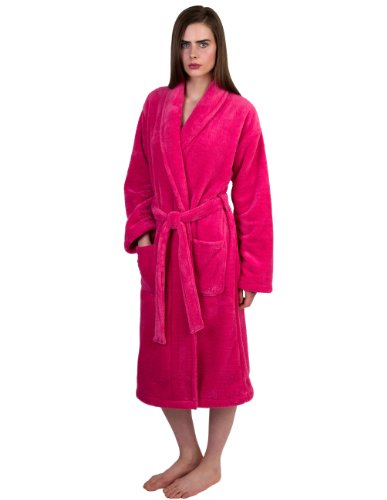 - TowelSelections Women's Super Soft Plush Bathrobe Fleece Spa Robe Medium/Large Hot Pink