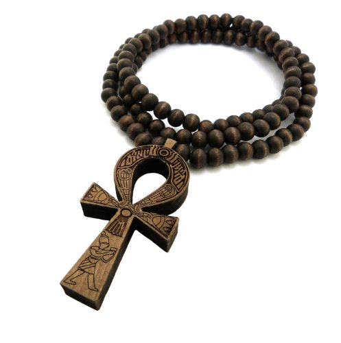 "Egyptian Ankh Cross Pendant 8mm 36"" Wooden Bead Necklace Brown- Tone XJ217BRN"