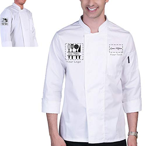 Add Your Own Custom Text Name Personalized Message or Image Printing on Chef Jacket Hotel Kitchen Restaurant Chef Coat (White M)