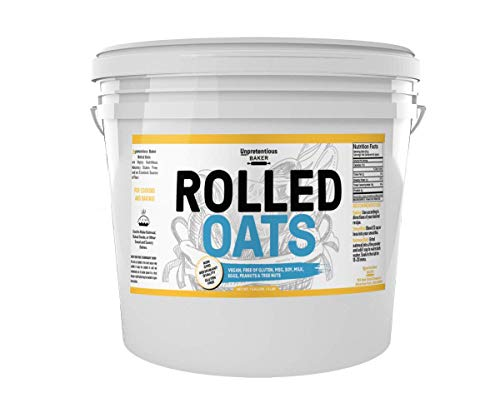 - Rolled Oats, 1 Gallon Bucket, by Unpretentious Baker, Highest Quality, Old Fashioned Oats, Whole Grain, Naturally Gluten Free, Vegan, Non-GMO, Excellent Source of Fiber