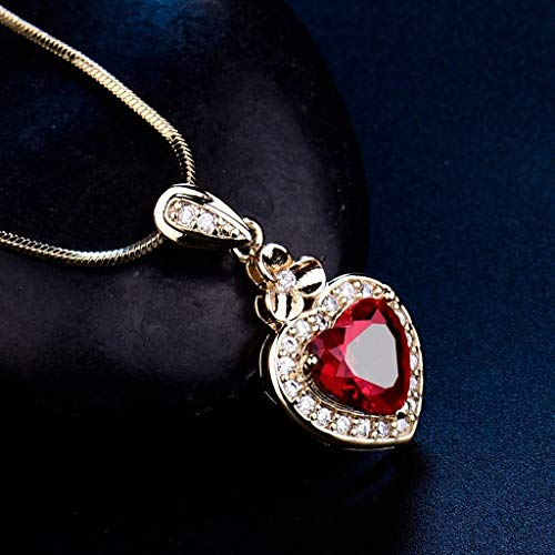 Saengthong Women's Jewelry Promise Fit Charm Heart Red Garnet Gemstone Pendant Necklace Color Yellow Gold Filled