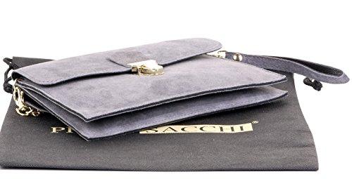 2 Sacchi leather sac ou main bandoulière épaule à Italian poignet Foncé Gris Push sac clip Primo suede Ladies wBqXXdt