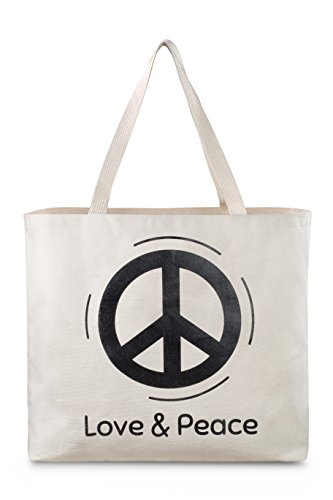 Reusable Canvas Bag - Tote Bag with Printed Love and Peace Theme. Double Stitched with Sturdy Shoulder Straps. Great Bag for Grocery Shopping. Made in USA (Love and Peace) ()
