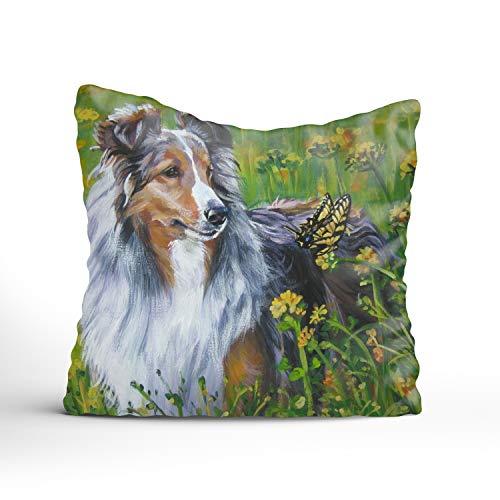 Sophia Emma Fair Sheltie Square Decorative Throw Pillow Case, Fashion Style Zippered Cushion Pillow Cover