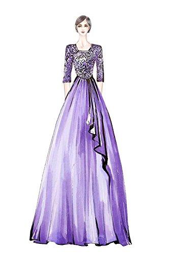Milano Bride Elegant Damen Chiffon Spitze Brautmutter Kleider Abendkleider Festkleider Lang mit Aermel Gold hiKS9