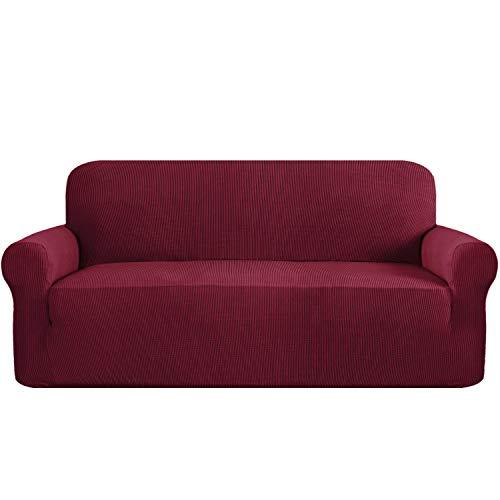 Flamingo P High Stretch Sofa Cover 1 Piece Machine Washable Spandex Jacquard Checked Pattern Fabric, Wine, Sofa