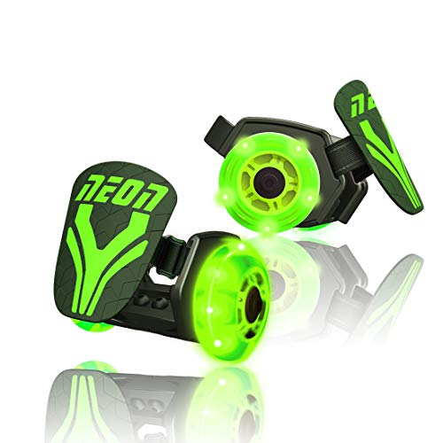 Neon Street Rollers | Flashing Heel Wheels Clip on Skates for Kids Age 5+ Years Old, Green
