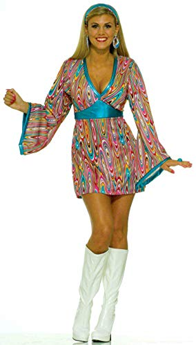 Forum Novelties Women's 60's Generation Mod Wild Swirl Costume Dress, Rainbow, Medium/Large