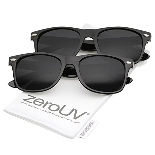 zeroUV - Retro Wide Arm Neutral Colored Lens Horn Rimmed Sunglasses 55mm (2 Pack | Shiny Black) (Cheap Coloured Contact Lenses)