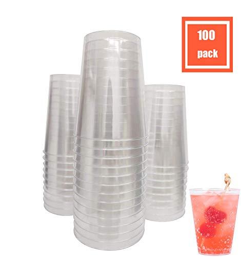 - RICPOK 10 Oz. Pack Of 100 Premium Clear Hard Disposable Party Plastic Tea Tumbler/Cup