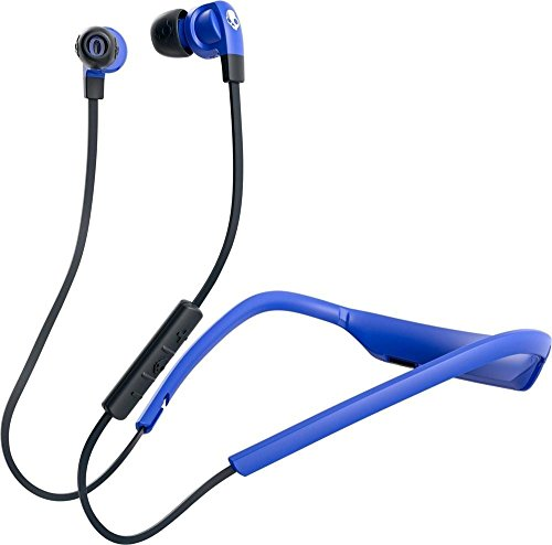 Skullcandy Smokin' Buds 2 In-Ear Bluetooth Wireless Earbuds with Microphone, Customizable Fit, Removeable Moldable Collar, 7-Hour Rechargeable Battery, Noise Isolating Supreme Sound, Street/Royal Blue -
