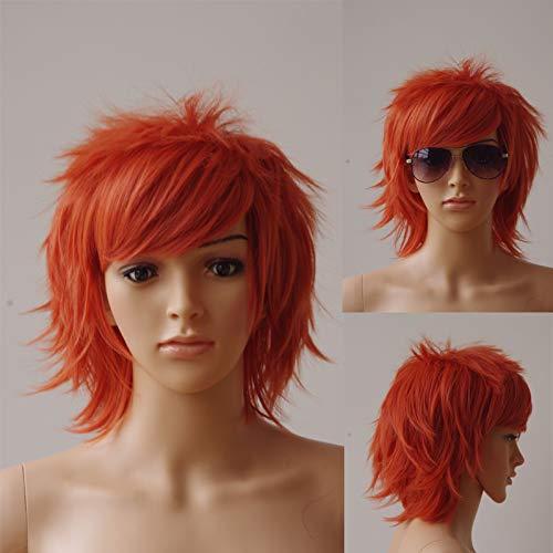 30Cm Cosplay Short Wig Synthetic Black Brown Pink Brown Halloween Costume Party Dress Wigs For Women Men Orange -