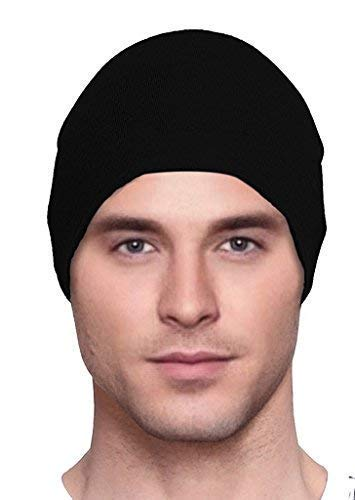 HC Black, Mens, Chemo Cap, Cancer Hat, Sleep, Beanie,Organic Bamboo Knit,Lightweight, Super -