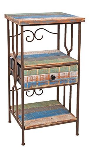 Kommode-Schrank-Regal-im-Shabby-Look-Antik-Industrie-Design-Holz-Metall-Telefontisch-Schlsselablage-bunt