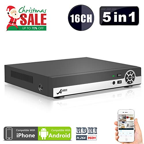 (5 in 1) ANRAN 16CH Security DVR 1080N AHD NVR HD Digital Video Recorder for CCTV Security Camera System Suport Mobile Phone Monitoring,Motion Detection,Real time Recording,No HDD