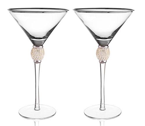 Trinkware Set of 2 Stemmed Martini Glasses - Rhinestone