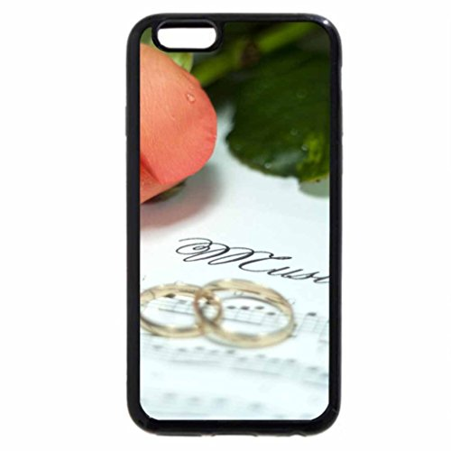 iPhone 6S / iPhone 6 Case (Black) Wedding rings and a rose.