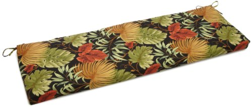 Blazing Needles Outdoor Spun Poly 19-Inch by 60-Inch by 3-1/2-Inch 3-Seater Bench Cushion, Tropique -