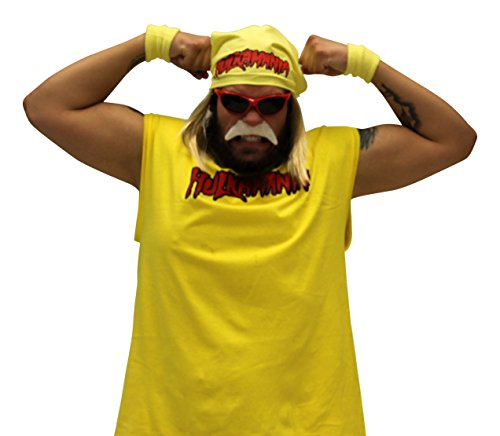 Hulk Hogan Costumes Mustache (Hulk Hogan Hulkamania Complete Costume Set (Adult XX-Large, Red Sunglasses/Yellow Bandana))
