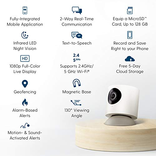 Hoop Wireless HD Indoor Security Camera with 5-Day Free Cloud Recording, Smart Mobile App, Night Vision, Motion & Sound Detection, 2-Way Audio, 2.4/5.0GHz, Works with Alexa & The Google Assistant